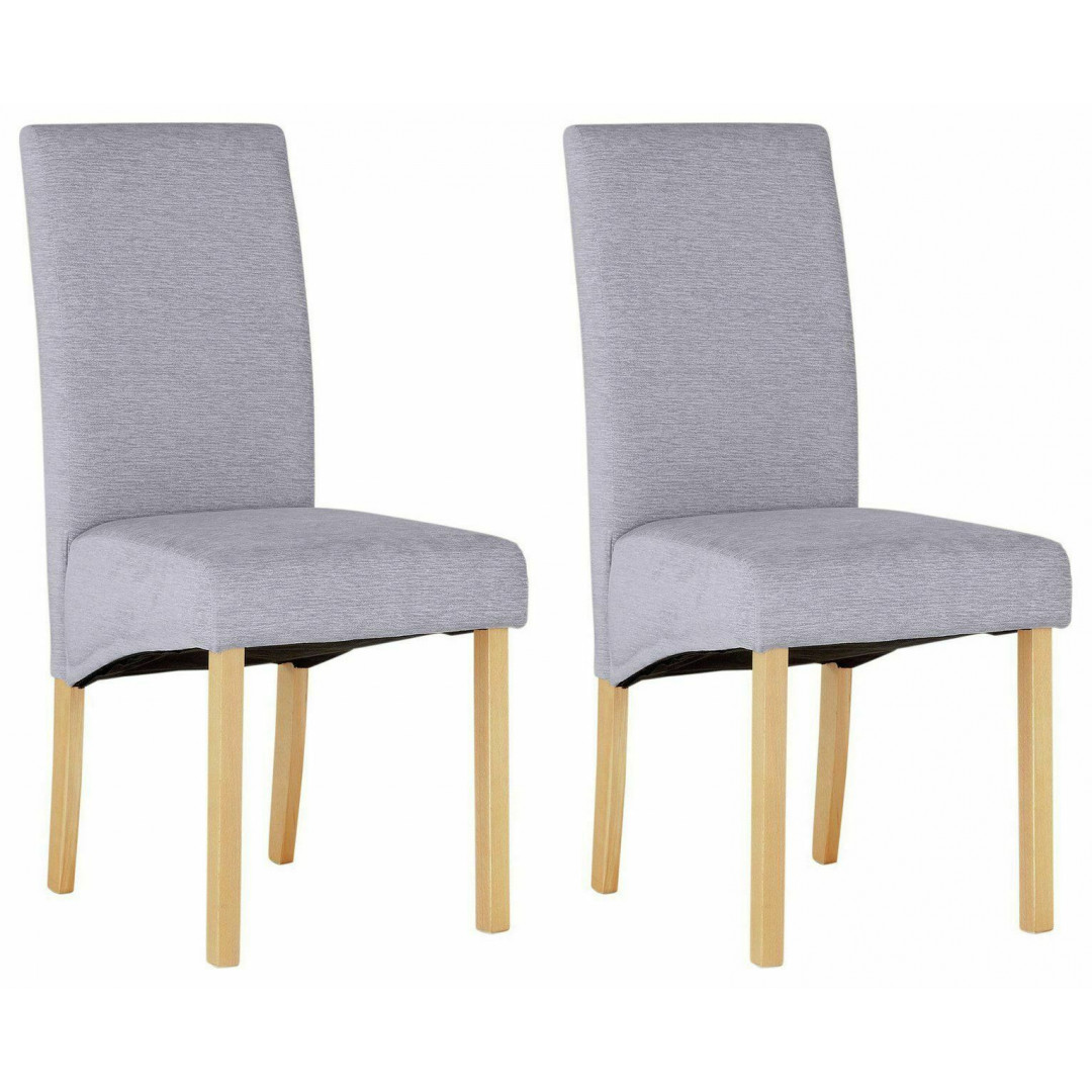 Home Pair of Fabric Skirted Dining Chairs - Pale Grey